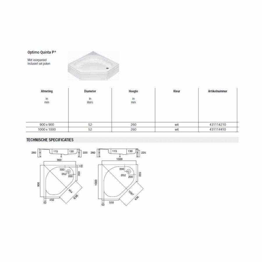 Quinta Douchebak opbouw vijfhoek 100x100x26 cm