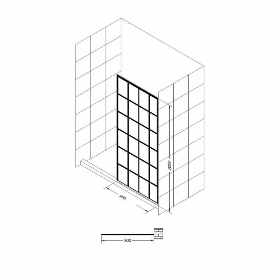 Inloopdouche Black Screen cm 10mm Nano (ALLE MATEN)