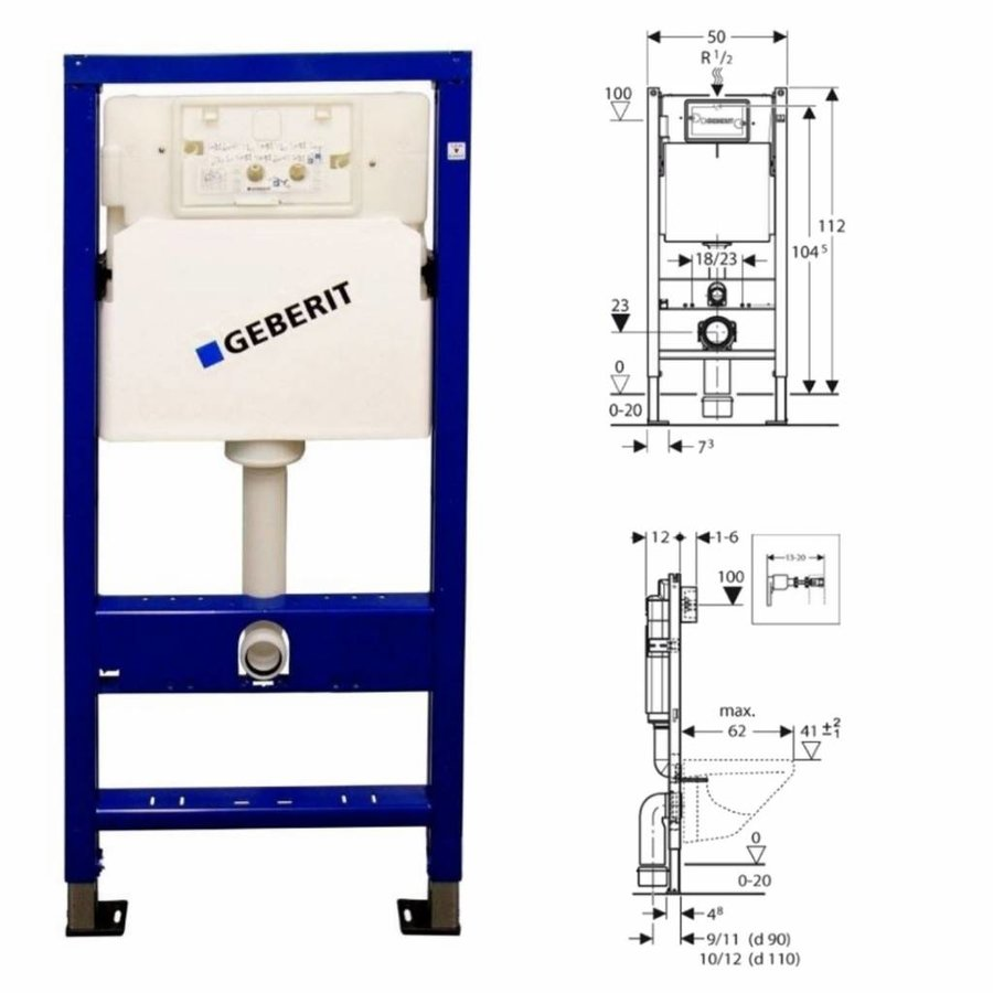UP100 Toiletset 11 V&B Subway 2.0 COMPACT Met Delta Drukplaat