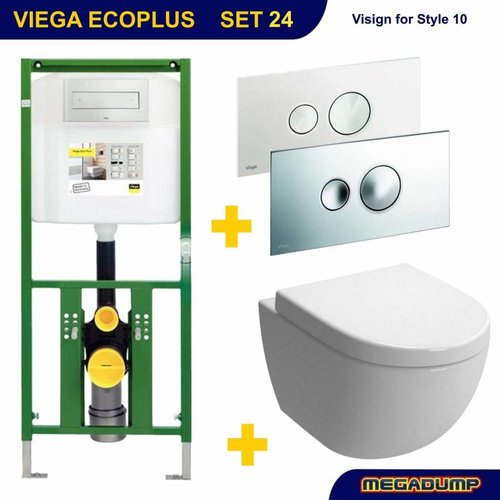 EcoPlus Toiletset 24 Aquasplash Zero Diepspoel Visign for Style 10 drukplaat