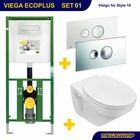 Viega EcoPlus Toiletset 01 Basic wandcloset Softclose met bril en drukplaat