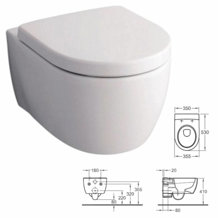 UP320 Toiletset 21 Geberit Sphinx 345 Rimfree met bril en drukplaat