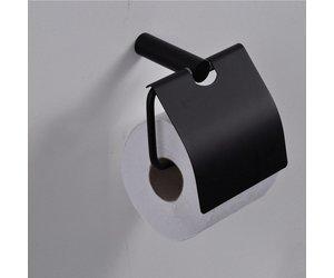 Toilet Accessoires Zwart : Aqua splash toiletrol houder met klep zwart toilet accessoires