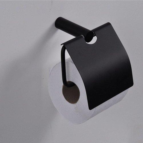 Aqua Splash Toiletrol Houder Met Klep Zwart
