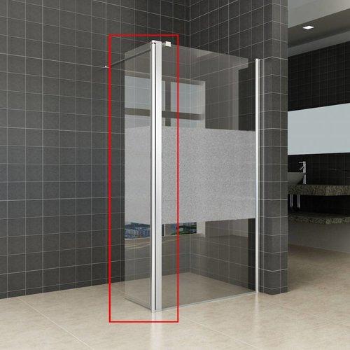 Zijwand Voor Inloopdouche Met Links Of Rechts Scharnierend Profiel En Schaamband 35X200 Cm 10 Mm Nano Glas