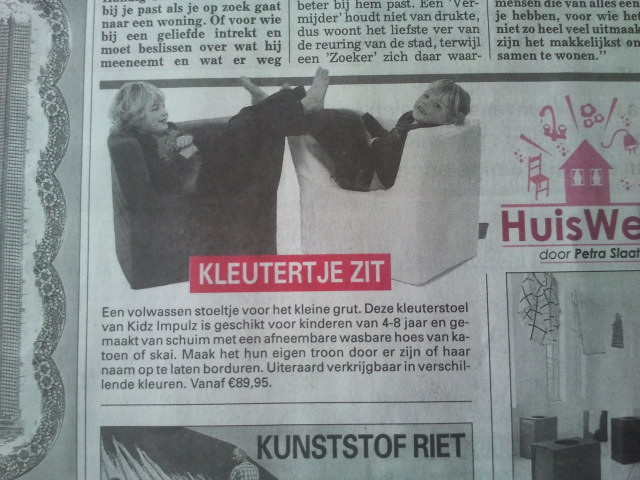KidZ ImpulZ kinderfauteuil in Telegraaf