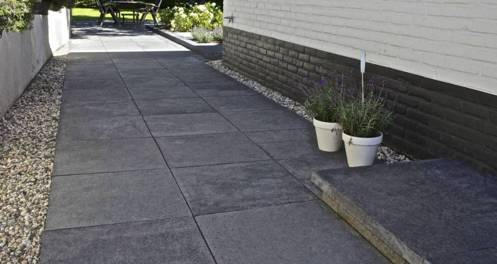 Oud hollands tegel carbon 100x100x5 cm top tuinmaterialen for Schellevis tegels aanbieding