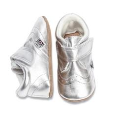 MELTON leren baby schoentjes zilver (met Suède zooltje)