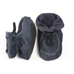 MELTON baby slofjes jeans met babyblauwe stiksels