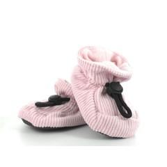 MELTON baby slofjes roze met ribstof