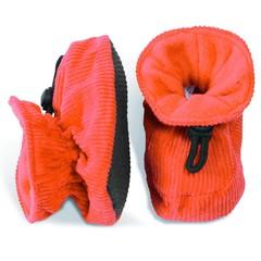 MELTON baby slofjes oranje met ribstof