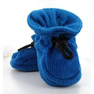 MELTON baby slofjes blauw met ribstof