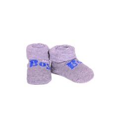 APOLLO sokjes Boy grijs met blauwe tekst giftbox! Newborn