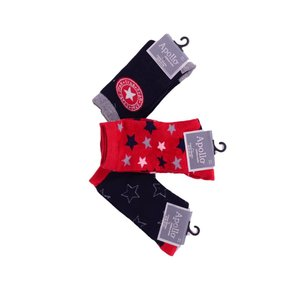 APOLLO 3 paar sokken marineblauw met rood