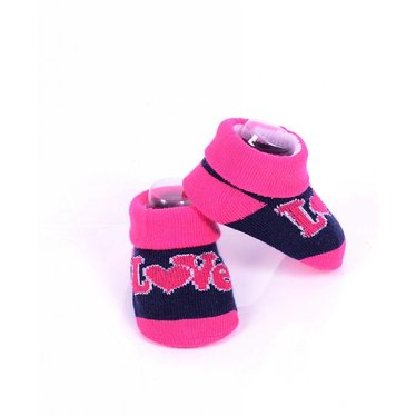 APOLLO sokjes Love marineblauw met roze giftbox! Newborn