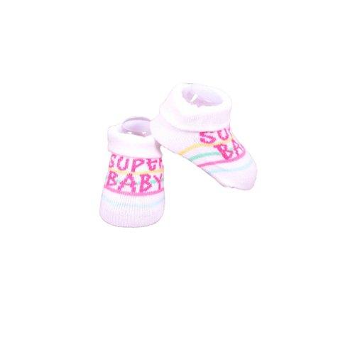APOLLO sokjes Super Baby wit met zwart giftbox! Newborn - Paarse streep