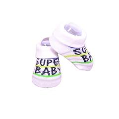 APOLLO sokjes Super Baby wit met zwart giftbox! Newborn - Blauwe streep