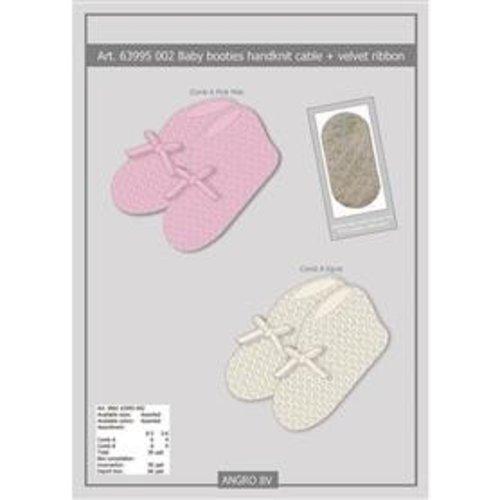 APOLLO babyslofjes handgebreid offwhite met strik