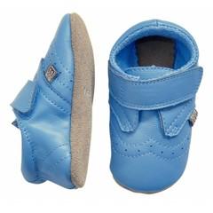 MELTON leren baby schoentjes blauw (met Suède zooltje)