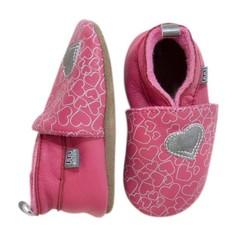 MELTON leren baby schoentjes roze met hart
