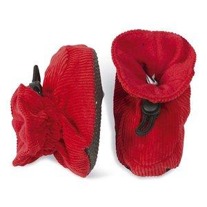 MELTON baby slofjes rood met ribstof
