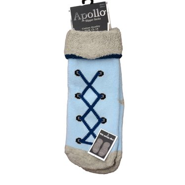 APOLLO Apollo anti-slipsokken babyblauw met veterprint (antislip zooltje)