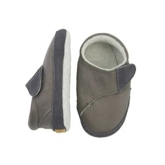 MELTON leren sneakers grijs klittenband