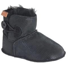 MELTON Zwarte laarsje met zwarte bontvoering van lamswool