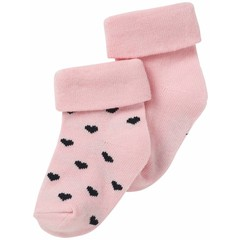 NOPPIES NOS New york sokjes roze bundel van 2 waarvan 1 met hartjes