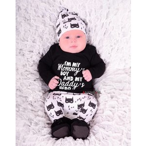 DIRKJE BABYKLEDING longesleeve zwart blits I'm my mommy's boy and my daddy's hero