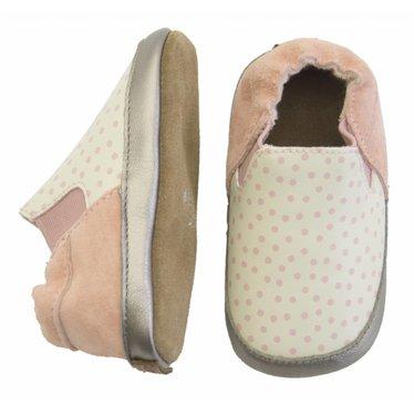 MELTON Melton leren baby schoentjes met stippen pink white