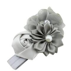 haarbandje met steentjes en bloemen grey