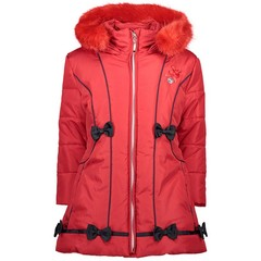 LE CHIC girls long jacket coat red crimson with bows