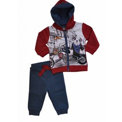 KNOT SO BAD 2 delig setje vest en broek navy/red