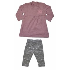KNOT SO BAD 2 delig setje longesleeve met broek grey/pink