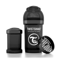 Twistshake Fles anti-koliek 180 ml black
