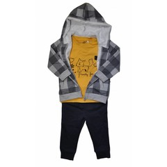KNOT SO BAD 3 delig setje wild shirt, vest en broek navy/yellow/grey