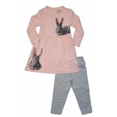 KNOT SO BAD 2 delig setje jurk en legging ass rabbits pink/grey