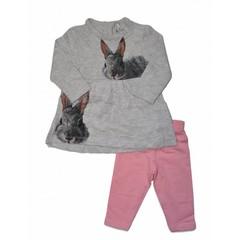 KNOT SO BAD 2 delig setje jurk en leggin ass rabbits grey/pink