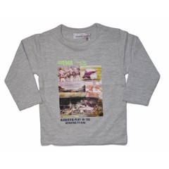 DIRKJE BABYKLEDING winning team shirt longsleeves with photoprint light grey melee + neon yellow