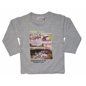 DIRKJE BABYKLEDING winning team shirt longsleeves with photoprint light grey melee + neon yellow