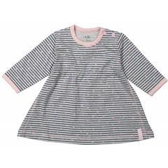 DIRKJE BABYKLEDING baby jurkje stripe basics grey melee + stripe