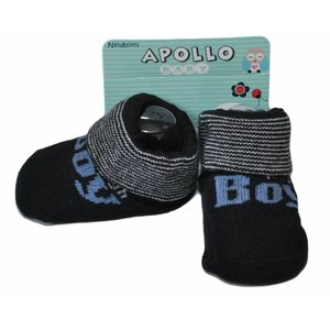 APOLLO sokjes Boy marineblauw met blauwe tekst giftbox! Newborn
