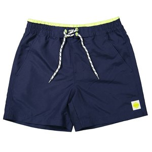 LENTIGGINI contrast boy zwembroek side pockets navy / neon yellow