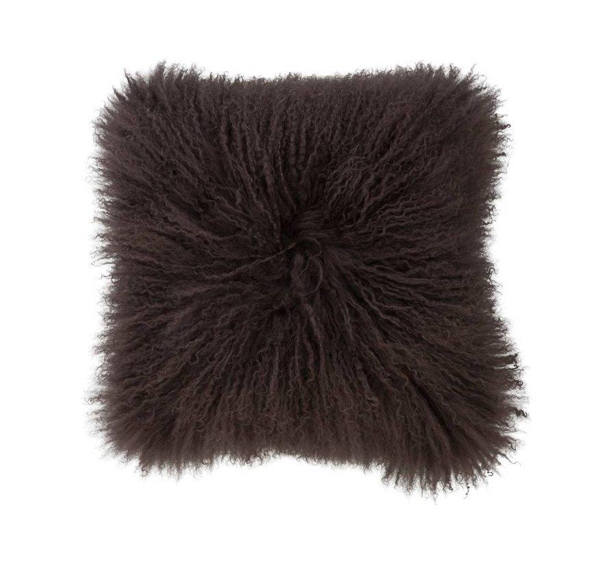 Cushion wool sheepskin gray brown