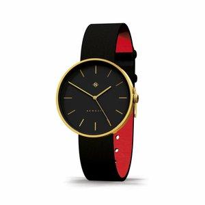 Newgate  Horloge The Drumline goud en zwart leer