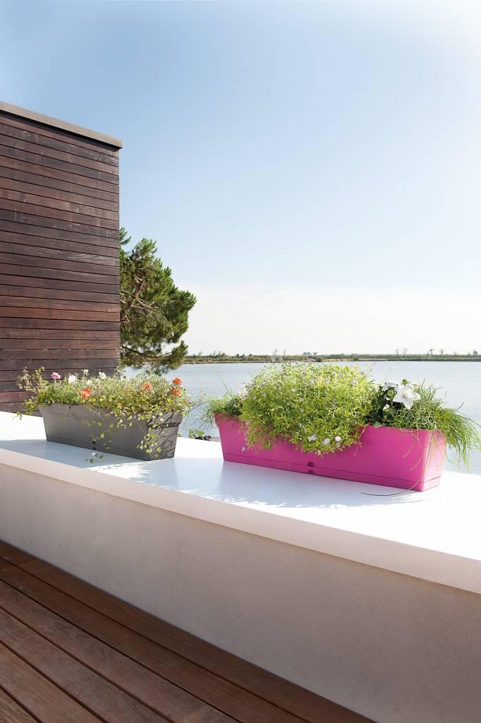 Balkon bloembak 80 cm taupe waterreservoir e surprice for Balkon bloembak