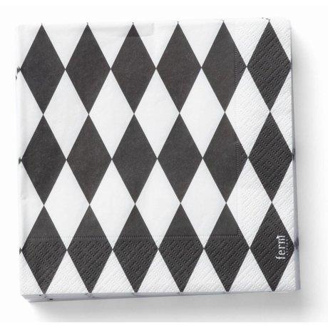 Ferm Living Servetten Harlequin zwart/wit papier 20 stuks 17x17cm