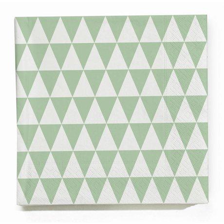 Ferm Living Servetten Triangle groen/wit papier 20 stuks 17x17cm