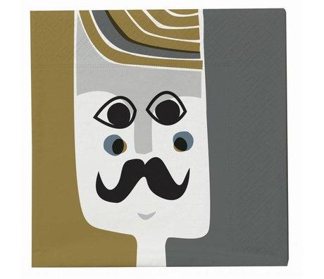 Ferm Living Servetten multicolour papier 20 stuks 17x17cm, Mr. Napkin